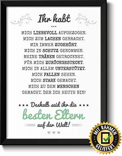 Beste Eltern Bild im schwarzem Holz-Rahmen Muttertagsgeschenk Vatertagsgeschenk Geschenke Geschenkideen Muttertag Vatertag Mama Papa