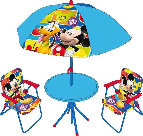 4tlg. Gartensitzgruppe Auswahl: Frozen - Star Wars - Spiderman - Hello Kitty - Minnie Maus Sitzgruppe Tisch + Sonnenschirm + 2x Stuhl Die Eiskönigin (Mickey Maus)