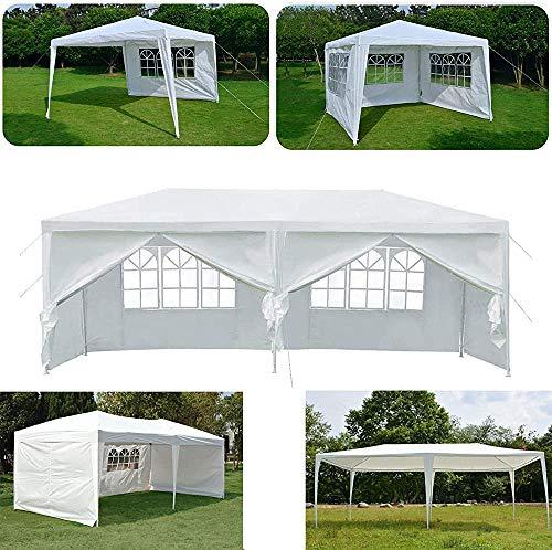 AKKL Party-Pavillon Zelt mit Seitenwand für Hochzeit im Freien Gartenmarkise, absolut wasserdicht,White-3 * 3m