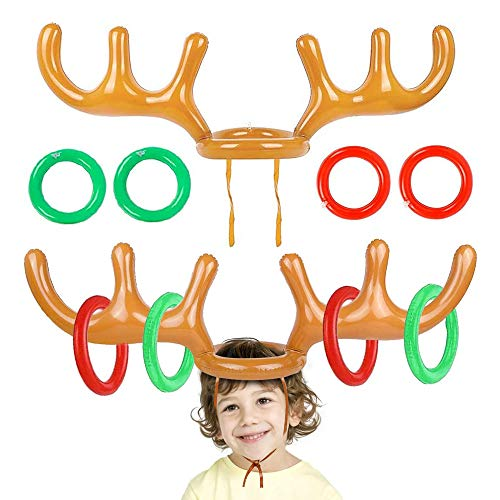 Aufblasbares Geweih, Aufblasbare Rentier Geweih Ring, Für Familien-Kinder Büro-Weihnachtsspaß-Spiele Weihnachts Party Spielzeug Geschenke(2 Geweihe 8 Ringe)
