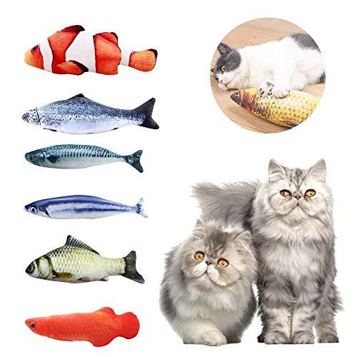 ASANMU Spielzeug mit Katzenminze 6PCS Katzenspielzeug Fisch Katze Interaktive Spielzeug 20cm Catnip Spielzeug Simulation Plüsch Fisch Form Kissen Kauen Spielzeug Set Plüsch Kitty Haustiere Kätzchen