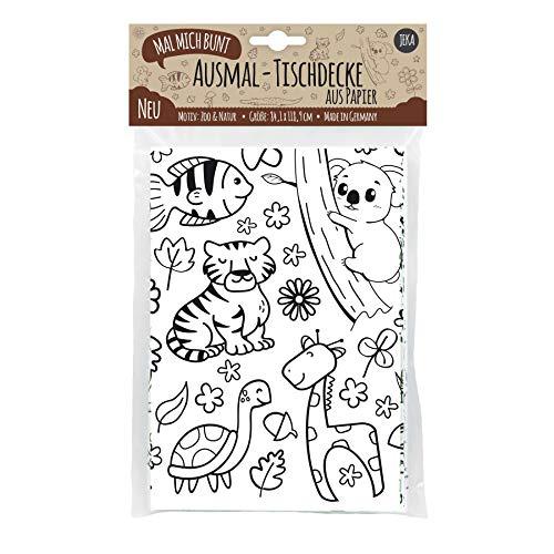 JEKA Papier-Tischdecke zum Ausmalen, Motiv Zoo, bemalbare Tischdecke Tiere, Deko Kindergeburtstag, Kreative Kinderbeschäftigung, Ausmalen, Mal Mich Bunt