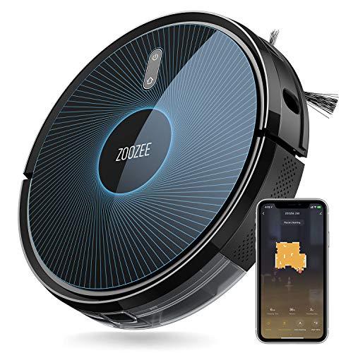 Staubsauger Roboter, ZOOZEE Z50 Saugroboter mit wischfunktion, Starke 3000 Pa Saugkraft, Selbstaufladender mit 5200 MAh LG Batterie, kompatibel mit Alexa, Google Home und Siri, Haustiergerecht