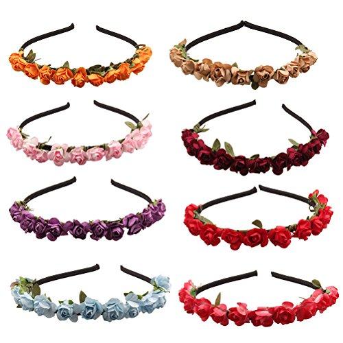 Frcolor 8 Hochzeit Rose Blume Krone Stirnband für Urlaub Party Kopfbedeckung (Zufällige Farben)