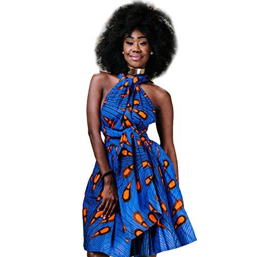 Damen Frauen Afrikanisches Kleid Ethnischer Stil Multi-tragen Jahrgang Abendkleid Multiway Kurzes Kleider Elegantes Sommer Verbandkleid Strandkleid Cocktailkleid Partykleid Mehrfarbig 38