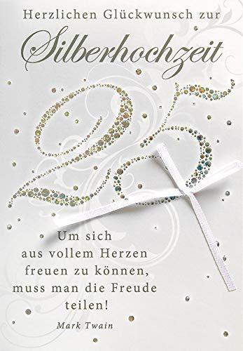 Perleberg Karte zur Silberhochzeit Lifestyle - 25, Schleife - 11,6 x 16,6 cm, 7710003-2