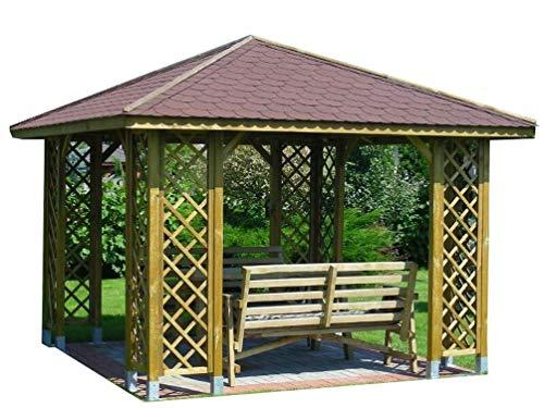 Stan-Wood GARTENLAUBE MIT SCHINDELN HOLZPAVILLON 3 x 3 m (Außenmaß 3.45m) Pfostenstärke: 9 x 9 cm PAVILLON MIT HOLZDACH HÖHE QUALITÄT !