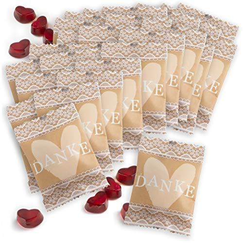 WeddingTree Fruchtgummiherzen 25 x 10g in kleinen päckchen mit Spitze - perfekt als Gastgeschenke Geburtstag, als Hochzeitsdeko Vintage oder Gästegeschenke Taufe (Danke 1)
