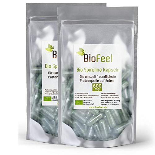 BioFeel - Bio Spirulina Kapseln, 360Stk., 600mg, 2er Pack