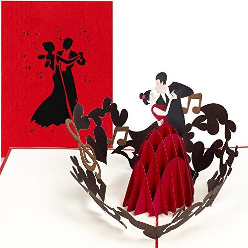 PaperCrush® Pop-Up Karte Tanzen - 3D-Karte mit Tanzpaar für diverse Anlässe (Tanzkurs Gutschein, Hochzeitskarte, Hochzeitstag) - Handgemachte Geburtstagskarte für Frau oder Freundin