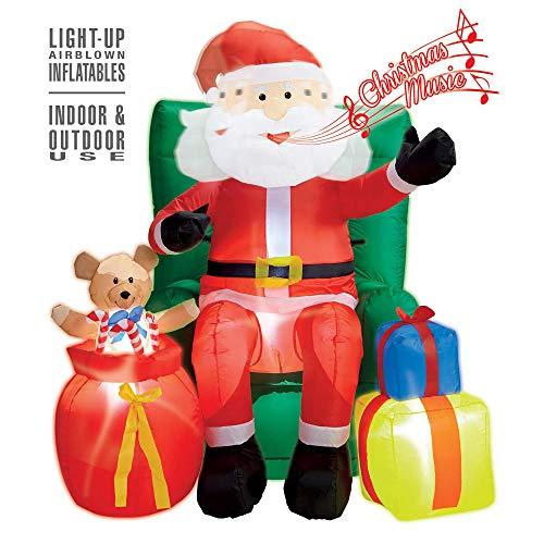 Widmann 75046 - Aufblasbarer, leuchtender Weihnachtsmann, mit Sessel und Geschenken, 122 cm