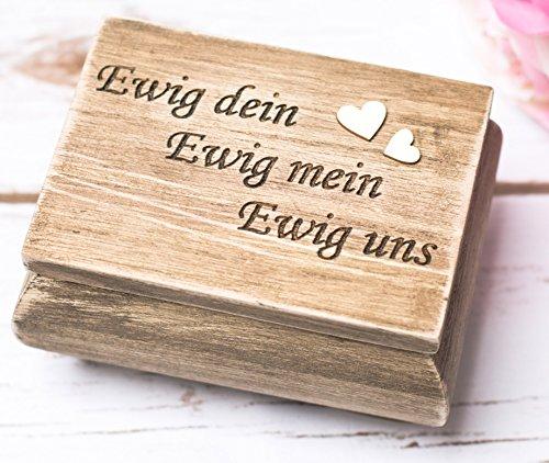 Hochzeit Ringbox Holz Ringkissen Spruch Ewig mein Ewig Dein Ewig Uns Ring-Schatulle Ring Box Ringträger Ringkissen Rustikale Hochzeit Vintage Ring-Schachtel Jute Braut Bräutigam Eheringe