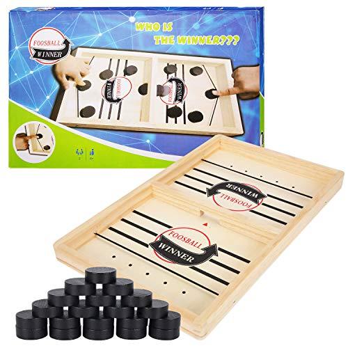 Herefun Hockey Brettspiel Spielzeug, Tischhockey Katapult Brettspiel 2 in 1 Eltern-Kind Interaktion, Tischhockey Holz, Fast Sling Puck Game, Portable Schachbrett-Set, Partyspiele(35*22*2.5cm) (A)