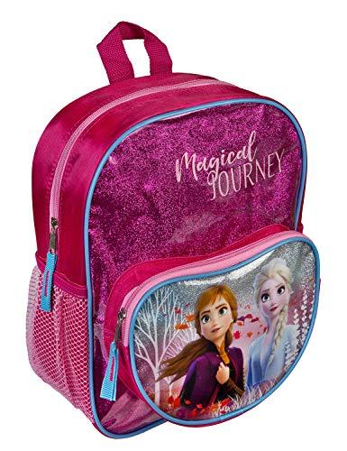 Undercover Disney Frozen Rucksack mit Vortasche und Glitzereffekt, für Schule und Freizeit I Kinderrucksack mit Anna und Elsa, pink