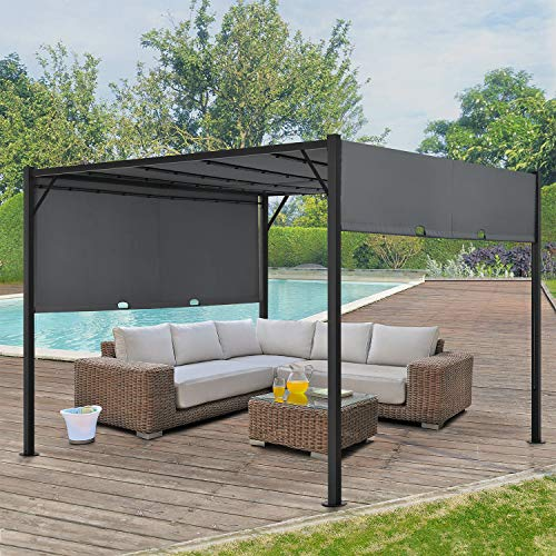 ArtLife Pavillon Cavo 3 × 4 m grau – Pergola mit LED Beleuchtung & Flachdach – Sonnenschutz Garten Terrasse – Terrassenüberdachung Stahl-Gestell