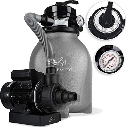 Kesser® Sandfilter Sandfilteranlage 10 m³/h - Poolfilter Filteranlage Filterkessel für Pool Schwimmbecken 4-Wege Ventil, einfache Steuerung, Grau