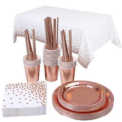 Topways® Partyzubehör Pappbecher Pappteller Set, Einweg Papier Geschirr Set einschließlich Tischdecke Teller Becher Strohhalme Servietten zum Geburtstag, Hochzeiten, Jubiläums (16 Gäste)