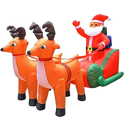 Siunwdiy Aufblasbare Weihnachtsmann aufblasbare Schlitten Rentier Hirsch im Freien Gartenparty aufblasbare Requisiten Dekoration,Grün