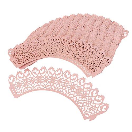 ROSENICE 50 Stück Papier-Backförmchen, Mädchen Kuchen Pappbecher für Hochzeit Geburtstagsparty (rosa)