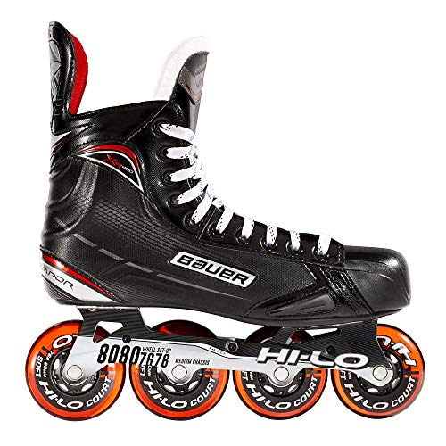 Bauer Inlinehockey Skates XR400 SR 76A Court, 6.0 (EU40.5) ABEC 5 Bearing, HI-LO Steel Chassis, Thermoformbar, Anatomical Foam Padding, Microfaser