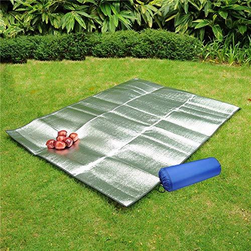 Aluminium Folie Matte, Faltbare Picknickdecke Wasserdicht 200x200, doppelseitig Matratze Isoliert Campingdecke, Feuchtigkeit Beweis Zelt Fußabdruck Pad