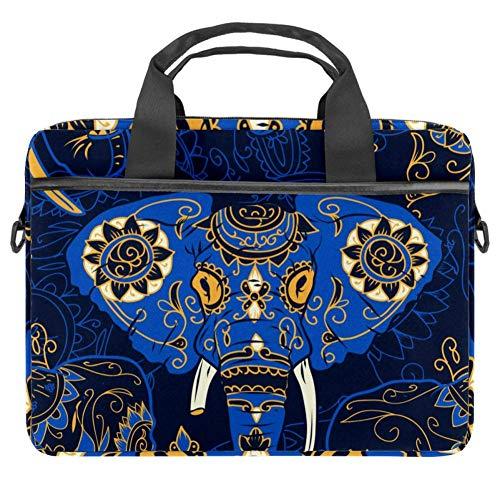 Laptop-Tasche, Umhängetasche, für Tablets, Dokumente, Aktentasche, Ethno-Look, Elefant, Blau, 38,1 x 13,7 cm