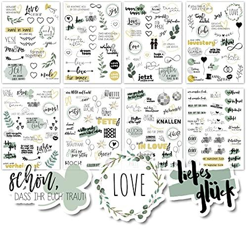 Sticker Hochzeit Gästebuch (4 Bögen) - Vintage Hochzeit Aufkleber für Gästebuch oder Fotoalbum mit viel Liebe - Love Stickers für Scrapbook oder Bullet Journal - Wedding Deko mit Herz - Goldgrün