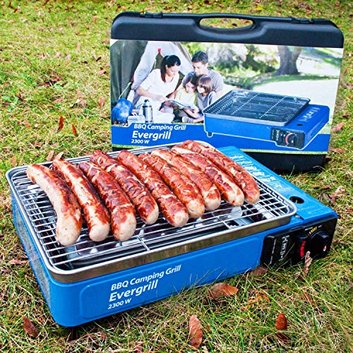 Angel DomäneButangas Camping Grill Evergrill mit Transportkoffer   Gasgrill BBQ Barbeque Tischgrill Butangas