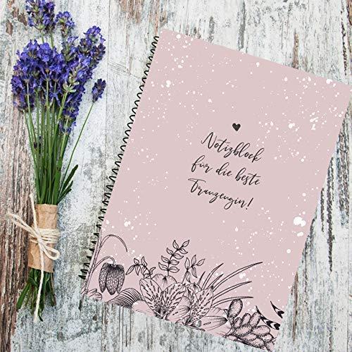 A5 Notizblock Trauzeugin Hochzeit Wedding, Hochzeitsplanung, Trauzeuginnen Geschenk, 80 linierten Seiten