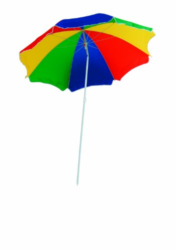 EXPLORER Strandschirm Sonnenschirm ca. 180cm **knickbar / mit Teleskopstab zur Verlängerung** Strand Garten Schirm Sonnenschutz Sichtschutz Strandmuschel Outdoor bunt beige blau