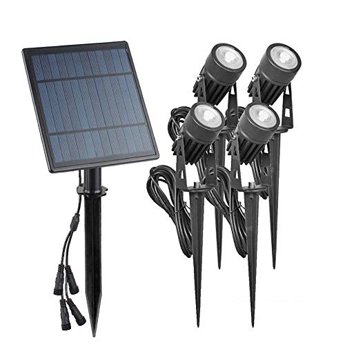 JUNERAIN Solar Spike Spot Lights 4W Outdoor Garten Rasen LED IP65 Lampen - Warmweiß