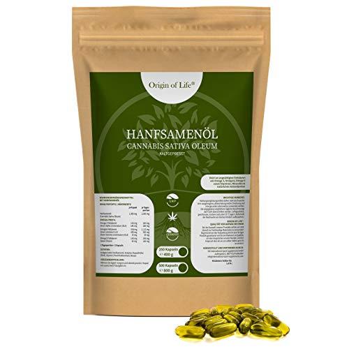 Hanföl 500 Softgel Kapseln - Hochdosiert mit 2000mg Tagesportion - Premium Cannabis Sativa - kaltgepresst & nativ - pflanzliche Omega 3 6-9 + ALA | Großpackung XXL Hanfsamenöl - Made in Germany