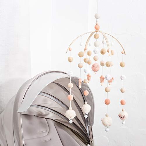 let's make Baby Mobile Dekoration Neugeborenes Geschenk für Mädchen Filz Schafbälle Krone Perlen Hölzernes Windspiel im Nordischen Stil