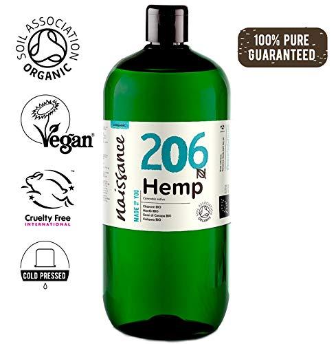 Naissance Hanfsamenöl BIO (Nr. 206) 1 Liter (1000ml) - nativ, kaltgepresst, 100% rein - vegan und tierversuchsfrei - reich an Omega-3 und Omega-6