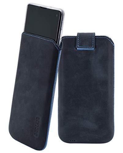 Suncase Etui Tasche kompatibel mit Samsung Galaxy S10 mit ZUSÄTZLICHER Hülle/Schale/Bumper/Silikon *Lasche mit Rückzugfunktion* Handytasche Ledertasche Schutzhülle Case in Pebble-Blue