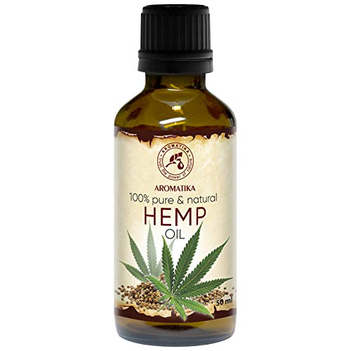 Hanföl 100% Reines Naturreines Kaltgepresst Hanfsamen Öl - 50ml Glasflasche - Hanf Öl - Cannabis Sativa Seed Oil - Hanfsamenöl - Intensive Pflege Für Gesicht - Körper - Haare - Hanf-Öl