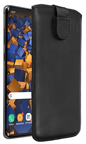 mumbi Echt Ledertasche kompatibel mit Samsung Galaxy S10+ Hülle Leder Tasche Case Wallet, schwarz
