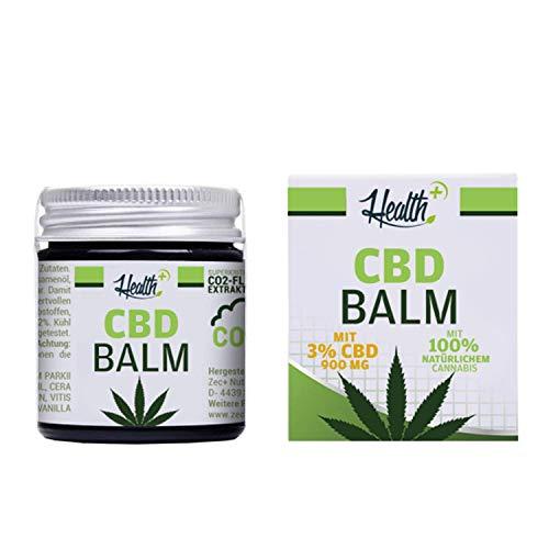 HEALTH+ CBD BALM mit 3% CBD - 30 ml, Hanf-Salbe mit kaltgepresstem Cannabissamenöl, hochwertiges und rein natürliches Haut-Balsam