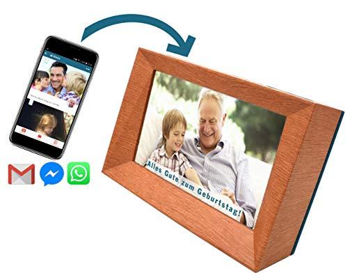 Familink: Der digitale Bilderrahmen (7-Zoll) mit integrierter SIM Karte, W-LAN, weltweitem Bild-Upload via App und Diashow