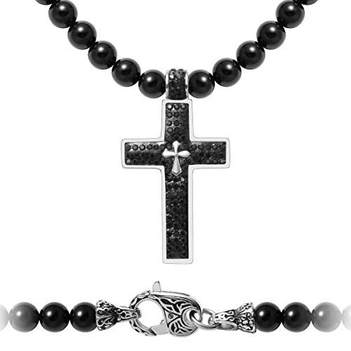Westmiajw Herren-Halskette aus Naturperlen mit Edelstahl-Anhänger in Kreuzform, schwarzer Onyx-Schmuckstein, 61 cm x 8 mm, Geschenk für ihn
