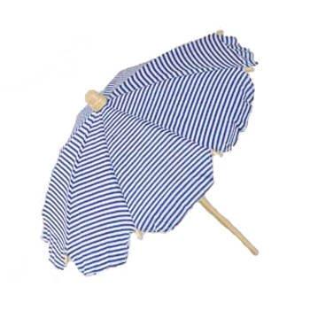 PARTY DISCOUNT Strandschirm, gestreift, weiss/blau, 42 cm
