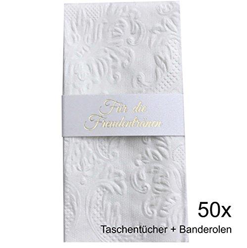 KATINGA Taschentücher (Ornament Pearl) + Banderolen mit Goldprägung für Freudentränen auf der Hochzeit (50)