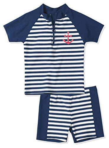 Playshoes Baby - Jungen Schwimmbekleidung, gestreift 460112 2 tlg. Bade-Set Maritim, Gr. 110/116, Mehrfarbig (900 original)