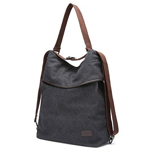 JOSEKO Canvas Tasche Segeltuch Schultertasche Damen Rucksack Handtasche Vintage Damen Umhängentasche für Reise Outdoor Schule Einkauf Alltag Büro Schwarz