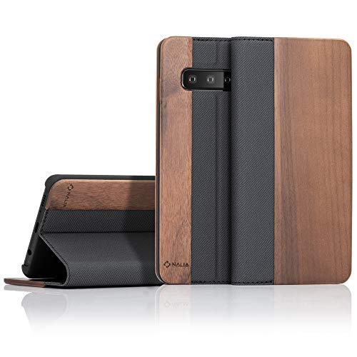NALIA Echt-Holz Klapphülle kompatibel mit Samsung Galaxy S10 Plus, Handmade Phone Case Handyhülle Natur-Holz Hülle Handy-Tasche Etui Flipcase, Dünnes Kunst-Leder Wood Book Cover Bumper, Farbe:Walnuss