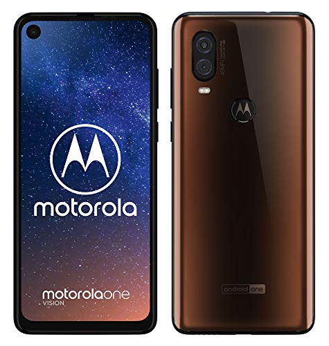 Motorola One Vision Dual-Sim Smartphone (6, 3 Zoll Display, 48-MP-Sensor, 12-MP- + 5-MP-Dual-Kamera, 128 GB/4 GB, Android 9.0) Bronze + Schutzcover [Exklusiv bei Amazon]