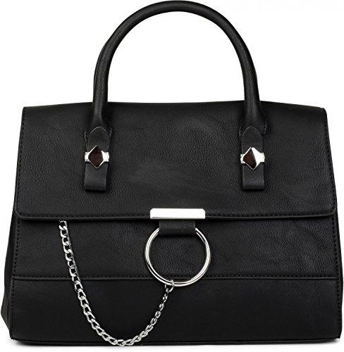 styleBREAKER Satchel Henkeltasche im 2-Tone Design mit Metall Ring und Kette, Handtasche, Tasche, Damen 02012125, Farbe:Schwarz