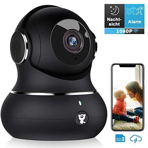 Überwachungskamera, Littlelf WLAN IP Kamera 1080P HD WiFi Kamera mit 360°Schwenkbare Baby Monitor, Zwei-Wege-Audio, Bewegungserkennung, Nachtsicht mit Alexa