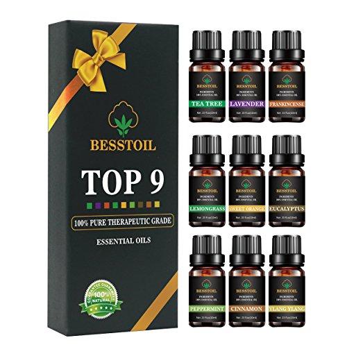 Ätherische Öle Set von TOP9, aromatisches Aromatherapie Duftöl Geschenkset mit 100% Aromatherapie
