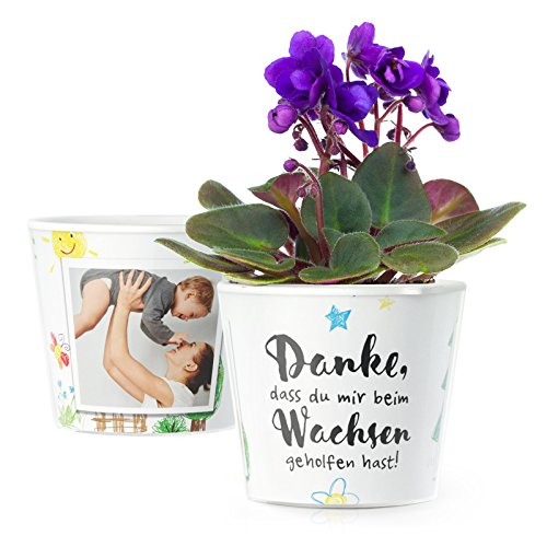 MyFacepot Blumentopf (ø16cm) | Geschenk für Erzieherin im Kindergarten, mit Rahmen für 2 Fotos (10x15cm) | Danke dass du mir beim wachsen geholfen hast